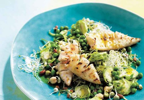 Sprouts-and-Peas-with-Lemon-Pepper-Squid_Food-for-Life_Michelle-Bridges